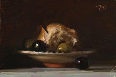 daily painting titled Bread and olives - click for enlargement