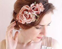 wedding flower crown, dusty pink floral crown, hair piece, bridal flower headpiece, mauve hair accessories -ROMANTIQUE- wedding hairpiece,