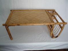 Vintage 1950s Bamboo Wicker Breakfast in Bed Tray Mid Century