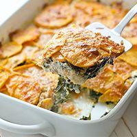 Sweet Potato & Kale Gratin - Plan to Eat Sweet Potato Kale, Sweet Potato Recipes, Veggie Recipes, Real Food Recipes, Vegetarian Recipes, Healthy Recipes, Lasagna Recipes, Vegetarian Thanksgiving, Vegetarian Main Dishes