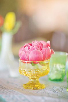 A single peony centerpiece for Easter.