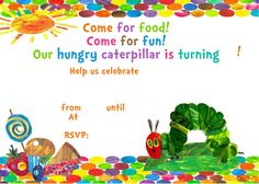 There are lots of really creative ways to make a Very Hungry Caterpillar party super cute. Here are some great Very Hungry Caterpillar party ideas! Free Birthday Invitation Templates, Free Printable Birthday Invitations, Birthday Template, Birthday Invitations Kids, Kids Birthday Cards, Templates Printable Free, Printables, Birthday Ideas, Invitation Wording
