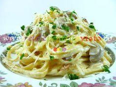 Paste carbonara cu smantana si ciuperci - poza 1 Penne Carbonara, Linguine, Recipe Images, Vegetarian, Meals, Ethnic Recipes, Food, Meal, Eten
