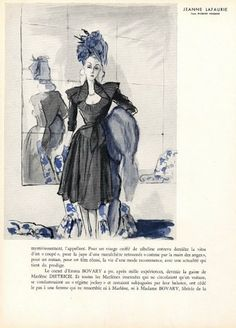 Jeanne Lafaurie 1944 Blossac 1940s Fashion, French Fashion, Vintage Fashion, Fashion Drawings, Fashion Sketches, Magazine Mode, Hue Color, Fashion Plates, Illustration