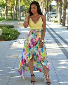 Chic Couture Online - Goldie Yellow Multi-Color Print Wrap Maxi Dress.(http://www.chiccoutureonline.com/goldie-yellow-multi-color-print-wrap-maxi-dress/)