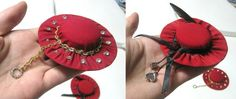 Hat Magnets by artistlisahamilton.deviantart.com on @deviantARTMy mom made little hat magnets out of recycled materials for a while. So I took this two unfinished ones some time ago and decorated them with pieces of jewelry, some of which are vintage. The one on the right I call my Red Wonderland hat.