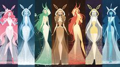 Here they all are posted together. ♡ (Except for Umbreon and Espeon of course, they couldn't fit haha) I'm planning to make this a print for . Eeveelutions as Goddesses Umbreon And Espeon, Pokemon Eevee Evolutions, Dragonair, 3d Pokemon, Pokemon Fan Art, Pretty Art, Cute Art, Fusion Art, Cute Pokemon Wallpaper