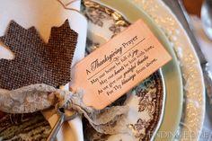 A Thanksgiving Prayer tag for napkins