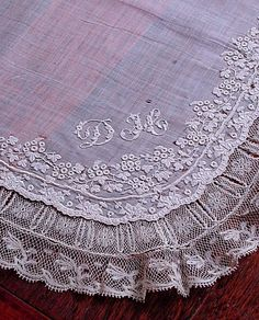 Image detail for -Above photo is best for color.the piece is evenly aged to a rich . Embroidery Monogram, White Embroidery, Ribbon Embroidery, Machine Embroidery, Vintage Linen, Antique Lace, Shabby Vintage, Vintage Handkerchiefs, Linens And Lace