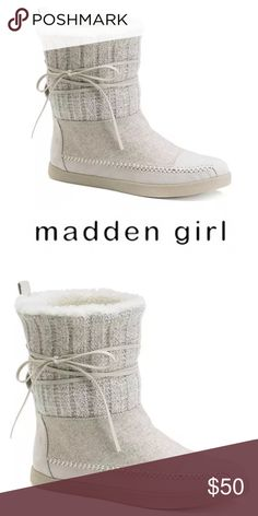 "| Madden Girl | White Fur Knit Booties 💥LOWEST, NO OFFERS💥Brand new with out the box. Never been worn. Jackmen in white wool blend upper faux suede lining, round toe, pull on, padded footbed, .5"" heel, 6"" shaft, 12"" circumference. Madden Girl Shoes Ankle Boots & Booties"