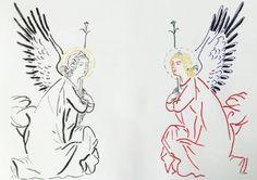 "Saatchi Art Artist Zoran Poposki; Drawing, ""Two angels (after Martini)"" #art"