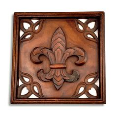Square Wooden Fleur-de-Lis Wall Decor | Louisiana Online Mall