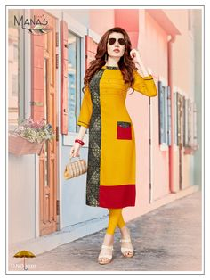 Book order or inquiry now call or whatsapp : ( ) 8866444471 Manas fab launch swara vol 3 rayon print ready to wear kurtis concept online shopping wholesaler Pakistani Dresses, Indian Dresses, Indian Outfits, New Kurti Designs, Blouse Designs, Stylish Dresses, Casual Dresses, Fashion Dresses, Kurti Patterns