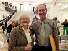 """MBLC Commissioner Mary Kronholm with award winner George Howe Colt, author of """"Brothers"""""""