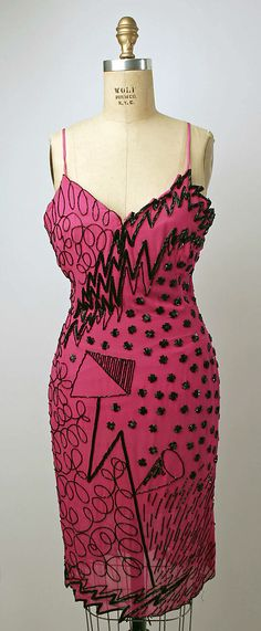 Evening Dress, Fabrice, 1980s, American, silk and plastic
