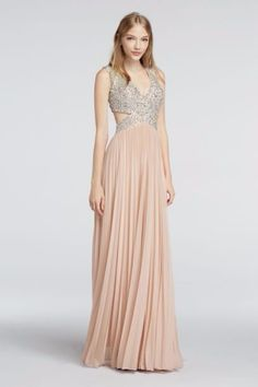 Cap Sleeve Chiffon Prom Dress with Beaded Cutouts A17922