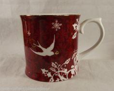 Starbucks Coffee Mug Cup Christmas Bird Red Pattern Gold Trim Snowflakes Rosanna