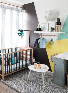 Yellow & Teal Geometric Nursery - Inspired by This Children''s room ideas and inspiration for Katharine Dever Nursery Themes, Nursery Room, Kids Bedroom, Nursery Decor, Nursery Ideas, Room Ideas, Room Decor, Yellow Nursery, Nursery Neutral