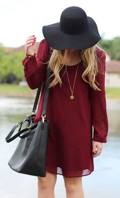 Garnet Shift Dress #hat #stylish #womanfashion