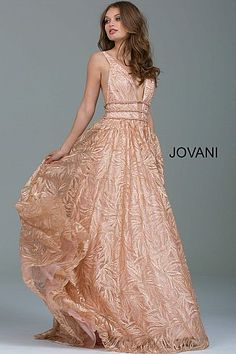 Rose Gold Embellished Backless Evening Ballgown 51439 #FormalDance #FormalGown #PromDress #Jovani