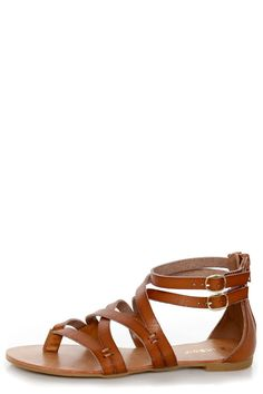 Bamboo Laguna 25 Chestnut Tan Strappy Gladiator Sandals - $28.00