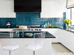 A cool contemporary kitchen the designers injected a jolt of color and graphics with a Turkish patterned tile from Ann Sacks and Absolute Black granite countertops. Lucite and leather Whiz barstools from Paston Rawleigh. Photo courtesy of House Beautiful Black Granite Countertops, Kitchen Countertops, Granite Kitchen, Kitchen Islands, Kitchen Cabinets, Stylish Kitchen, New Kitchen, Kitchen Decor, Kitchen 2016