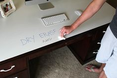Top of desk was painted with dry erase paint  Wow!