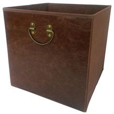 Lowes $9.98 allen + roth 12.75-in W x 12.75-in H x 12.75-in D Dark Brown Faux Leather Bin