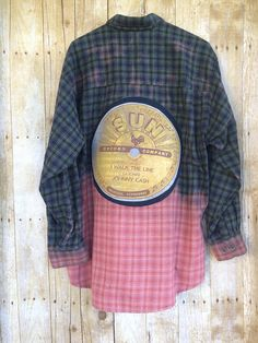 de679a6d47 Upcycled and Bleach Dipped Flannel Shirt