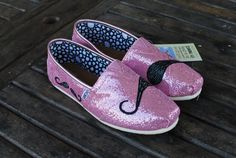 toms shoes Pink Glitter Many Mustache TOMS shoes by BStreetShoes on Etsy share the best shoes