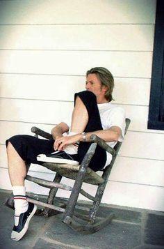 "davidbowieobsession: "" David Bowie wearing Spongebob socks """