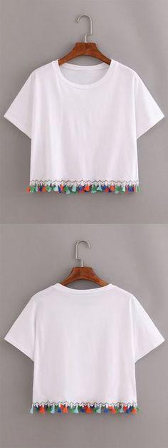 White Contrast Fringe T-Shirt (Diy Clothes Shirts) Top Mode, Summer Outfits, Cute Outfits, Diy Kleidung, Diy Vetement, Diy Shirt, Diy Tshirt Ideas, Diy Clothing, Mode Inspiration