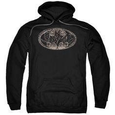 Fight crime while keeping warm with this black Batman bat shield adult pull-over hoodie. Featuring a hood to help hide your identity, this hoodie is made from a mix of cotton and polyester for easy ca
