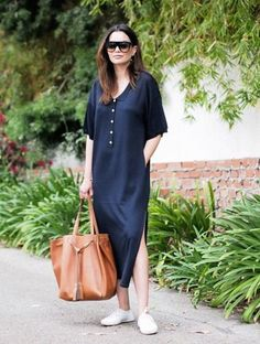 loose dress with sneakers