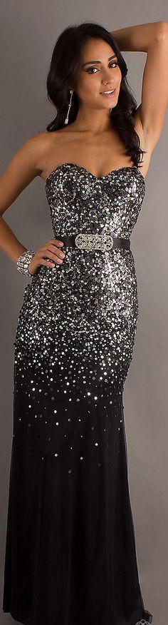 Formal long dress #strapless #glitter #black