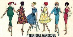 Vintage 1950s Barbie wardrobe sewing  E PATTERN advance 3377. $3.50, via Etsy.