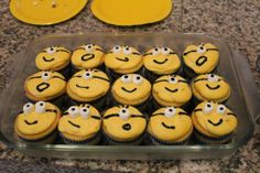 Super easy Despicable Me Minion cupcakes. Use mini marshmallows for the eyes. Total time saver and the kids still loved them!