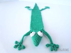 Amigurumi Crochet Gecko Bookmark Front
