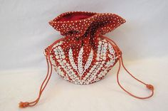 Red Velvet Beaded Drawstring Bag  1940s by LouisaAmeliaJane, $25.00
