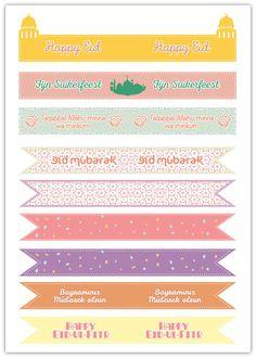 PRINTABLE | Eid Cupcake Toppers / Straw Flags | Ramadanrecepten.nl