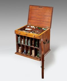 An apothecary cabinet containing the drugs that Jekyll becomes addicted to. The story contains a kind of parable about drug addiction.