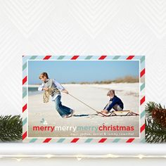 Three times the merry with this 'Triple Merry' #Christmas Card design. #Holidays