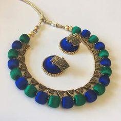 Ethnic Designed Necklace Jewellery with 1 Pair Of Earring. Silk Thread Necklace, Thread Jewellery, Long Tassel Earrings, Drop Earrings, Unique Necklaces, Jewelry Necklaces, Necklace Set, Jewelry Sets, Diamond Jewelry