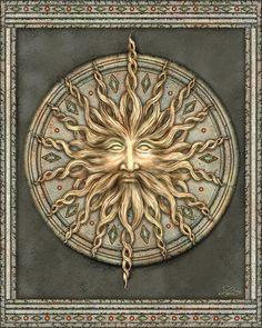 Sir Sun Painting by Beverly Levi-Parker Sun Moon Stars, My Sun And Stars, Celtic Tattoos, Star Tattoos, Art Soleil, Surreal Tattoo, Sun Painting, Sun Art, Celtic Art