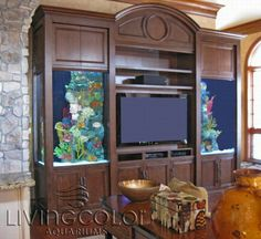 Fish tank entertainment center entertainment center with aquariums fish tank on top of entertainment center . Saltwater Fish Tanks, Aquarium Fish Tank, Saltwater Aquarium, Tv Stand And Panel, Fish Tank Wall, Living Room Entertainment Center, Entertainment System, Fish Tank Design, Amazing Aquariums