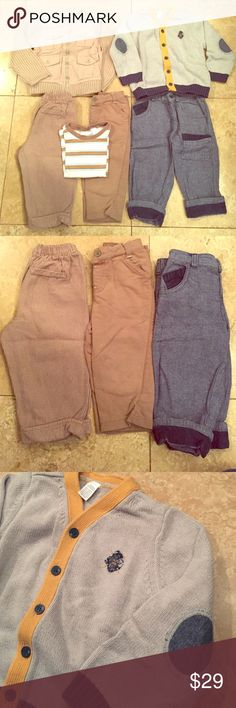 """6 pieces! 24 Months """"First Impressions"""" Very nice like new preowned condition. These pieces hardly were used. 3 pairs of pants are foldable at bottoms to grow into. Nice Moto style zip up sweater. Fancy cardigan with nice details. Stripped t-shirt. No stains or obvious wear. First Impressions Matching Sets"""