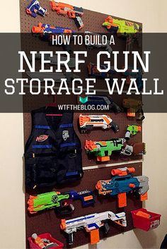 Jaythenn needs this seriously because he has so many nerf guns and he plays with them every time he comes here. Nerf Gun Storage, Toy Storage, Pegboard Storage, Toy Rooms, Kids Rooms, Kids Bedroom, Bedroom Ideas, Kids Playing, Life