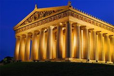 The Conservancy for the Parthenon & Centennial Park - Nashville, TN... This would be a lovely location for a wedding. An exact full-size replica of the Parthenon from Athens, Greece. For an evening event, you have to purchase a membership that costs $4,000 just to use the location. They have a preferred list of caterers. You will also need to find your tables, seating, and decorations elsewhere.