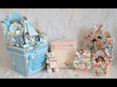 """May 2015 G45 """"Precious Memories"""" -  4x4 Photo Box Mini Photo Album with Tutorial holds 18 photos & perfect for Baby Showers by Anne's Paper Creations; cannery"""