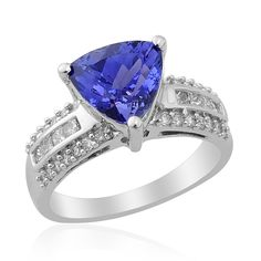 ILIANA 18K White Gold Tanzanite and Diamond Ring | Liquidation Channel